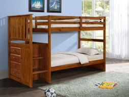 Bunk Beds with Storage, Stairs, and Built-in Dresser in Twin