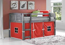 Donco Kids 790AAG_750C-TR Louver Low Loft Bed with Red Tent,