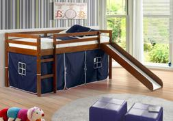 Low Bunk Beds with Slide - Espresso Finish