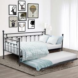 Metal Daybed Frame Twin Bed WITH TWIN ROLL-OUT TRUNDLE Bedro