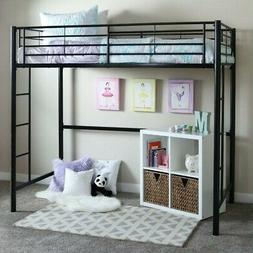 metal twin loft bunk bed in black