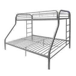 Metal Twin XL/Queen Bunk Bed With Ladders, Silver Silver Twi