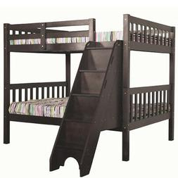Milan Full over Full Bunk Bed with Stairs Espresso