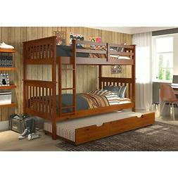 Donco Kids Mission Twin over Twin Bunk Bed with Trundle or