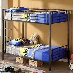 Modern Metal Twin over Twin Bunk Beds Frame Ladder Adult Chi