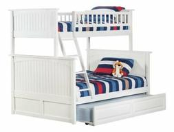 Nantucket Bunk Bed with Trundle Bed, Twin over Full, White