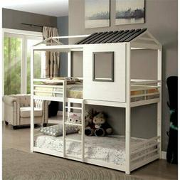 Furniture of America Nesta House Twin Over Twin Bunk Bed in