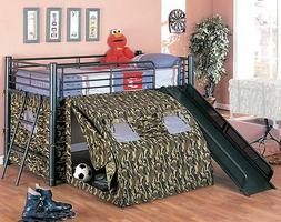NEW G.I. ARMY CAMOUFLAGE TWIN LOFT METAL BUNK BED W/ SLIDE &