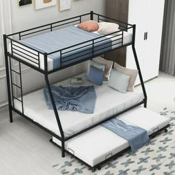 New Metal Twin over Full Bunk Beds Frame Ladder Kids Adult C