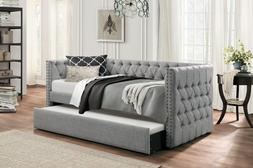 """NEW STYLISH  """"COLE"""" GRAY FABRIC BUTTON TUFTED TWIN DAY BED W"""