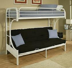 NEW Twin Over Full Futon Bunk Bed White Metal Loft Dorm - FR