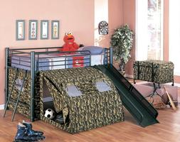 Oates Green Twin Lofted Bed with Slide and Tent Metal Bunk B