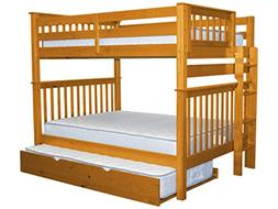 Full Over Full Bunk Bed with Twin Trundle, Honey