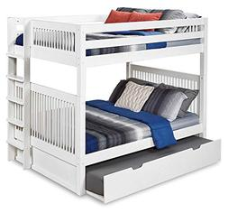 Full Over Full Bunk Bed with Twin Trundle in White Finish