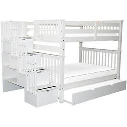 Full Over Full Bunk Bed with Full Trundle, White