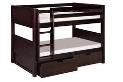 Camaflexi Panel Style Solid Wood Low Bunk Bed with Drawers,