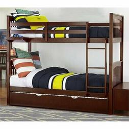 NE Kids Pulse Twin Over Twin Slat Bunk Bed with Trundle in C