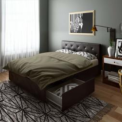 Queen Size Bed Frame With Storage 4 Drawers Tufted Headboard