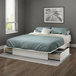 Queen Storage Platform Bed Frame With 2 Drawers White Full S