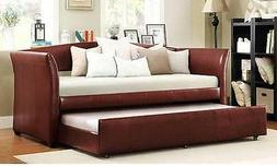 Red Trundle Bed Twin Wine Faux Leather Daybed WITH ROLL-OUT