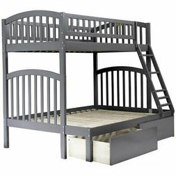 Atlantic Furniture Richland Twin Over Full Bunk Bed in Gray
