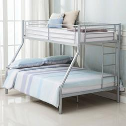 Silver Metal Twin over Full Bunk Bed Frame Ladder Kids Teens