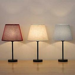 Small Table Lamps - Elegant Bedside Nightstand 3 Colors Shad