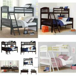 Solid Wood Bunk Beds Twin Over Full with Ladder and Guard Ra