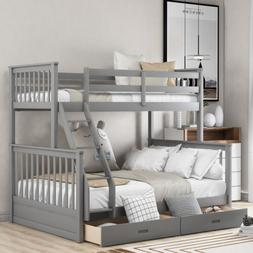 Solid wood Bunk Beds Twin over Full Size Ladder Kid Dorm Lof