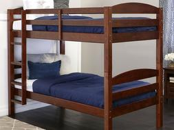 Solid Wood Twin Size Over Bunk Bed For Kids - Espresso Solid