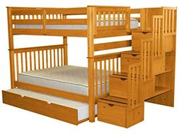 Bedz King Stairway Bunk Bed Full over Full with 4 Drawers in