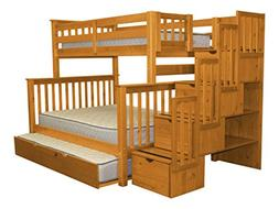 Stairway Bunk Bed Twin over Full in Honey with 4 Drawers Bui