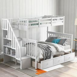 Twin over Full Bunk Bed with 3 Storage Drawer And Ladder and
