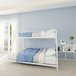 Steel Twin-over-Full Bunk Bed Frame Bunk bed W/ Rails Ladder