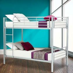 Steel Twin over Twin Bunk Beds Frame Ladder for Kids Adult B