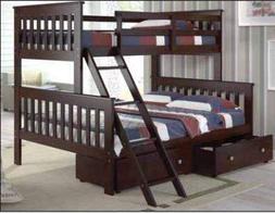 Donco Kids 122-2-TFCP_505-CP Mission Bunk Dual Under Bed Dra