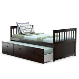 Twin Captain's Bed Bunk Bed Alternative w/ Trundle & Drawers