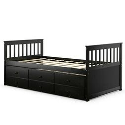 Twin Captain's Bed Bunk Bed Alternative w/ Trundle & Drawe