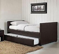 Twin Daybed WITH TRUNDLE Bed in Brown Faux Leather - FREE SH