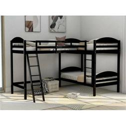Twin L-Shaped Bunk Bed and Loft Bed Double Size Bed Frame Pi