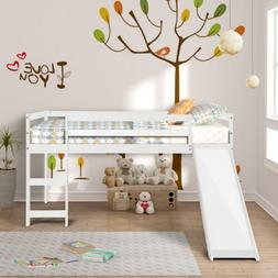 Twin Loft Bed Metal Bunk Ladder Beds Boys Girls Teens Kids C