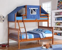Twin over Full Boys Bunk Beds with Blue Tent