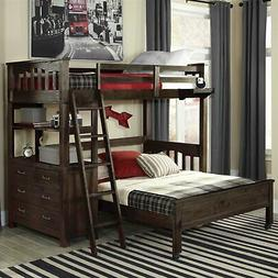 Twin over Full Bunk Bed Loft with 4-Drawer Chest and Ladder