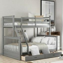 Twin Over Full Bunk Bed With Ladders and 2 Storage Drawers B