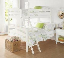 Twin over Full Bunk Bed Wood White Kids Bedroom Seperates to