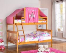 Twin over Full Bunk Beds for Girls with Pink Tent