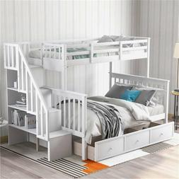 Stairway Twin-Over-Full Bunk Bed with Drawer, Storage & Guar