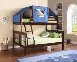 Twin over Full Bunk Beds with Blue Bunk Bed Tent
