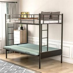 Twin over Full Metal Bunk Bed w/ Ladder For Kids Adults Bedr