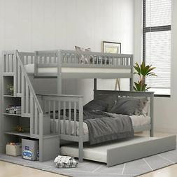 Twin over Full Stairway Bunk Bed with Full Size Trundle & Ra